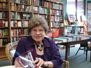 Barbara Florio Graham at the Ottawa launch of Prose to Go: Tales from a Private List, at Beechwood Books.